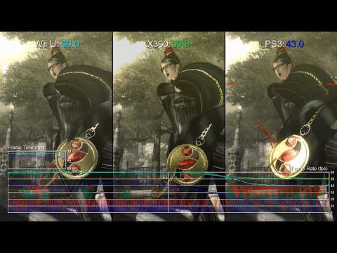Bayonetta 1 Wii U vs Xbox 360 vs PS3 Frame-Rate Test
