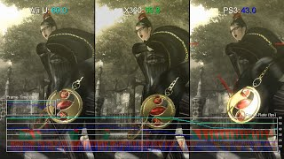 Bayonetta 1 Wii U vs Xbox 360 vs PS3 Frame-Rate Test