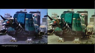 Mighty Morphin Tor the Shuttlezord First Appearance Split Screen (PR and Sentai version)