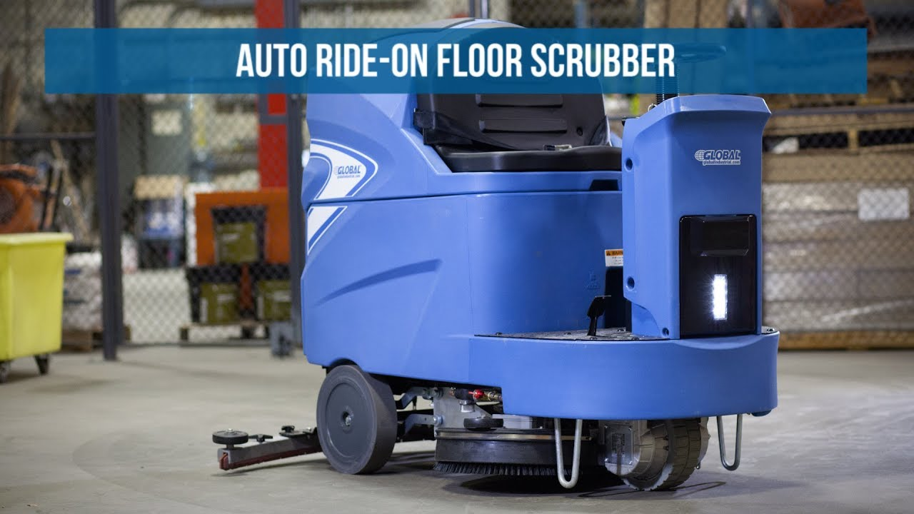 Global Industrial Auto Ride On Floor Scrubber YouTube - Floor scrubers