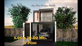 CASA DE 5.00 x 20.00 Mts. - HOUSE 5,00 X 20,00 Mts - Arquitectur_AP