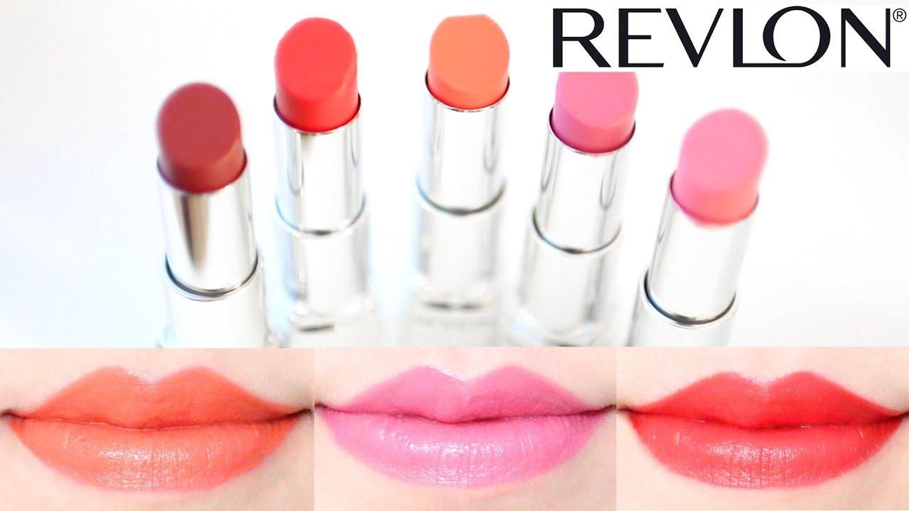 revlon ultra hd lipstick swatches on lips 5 shades youtube