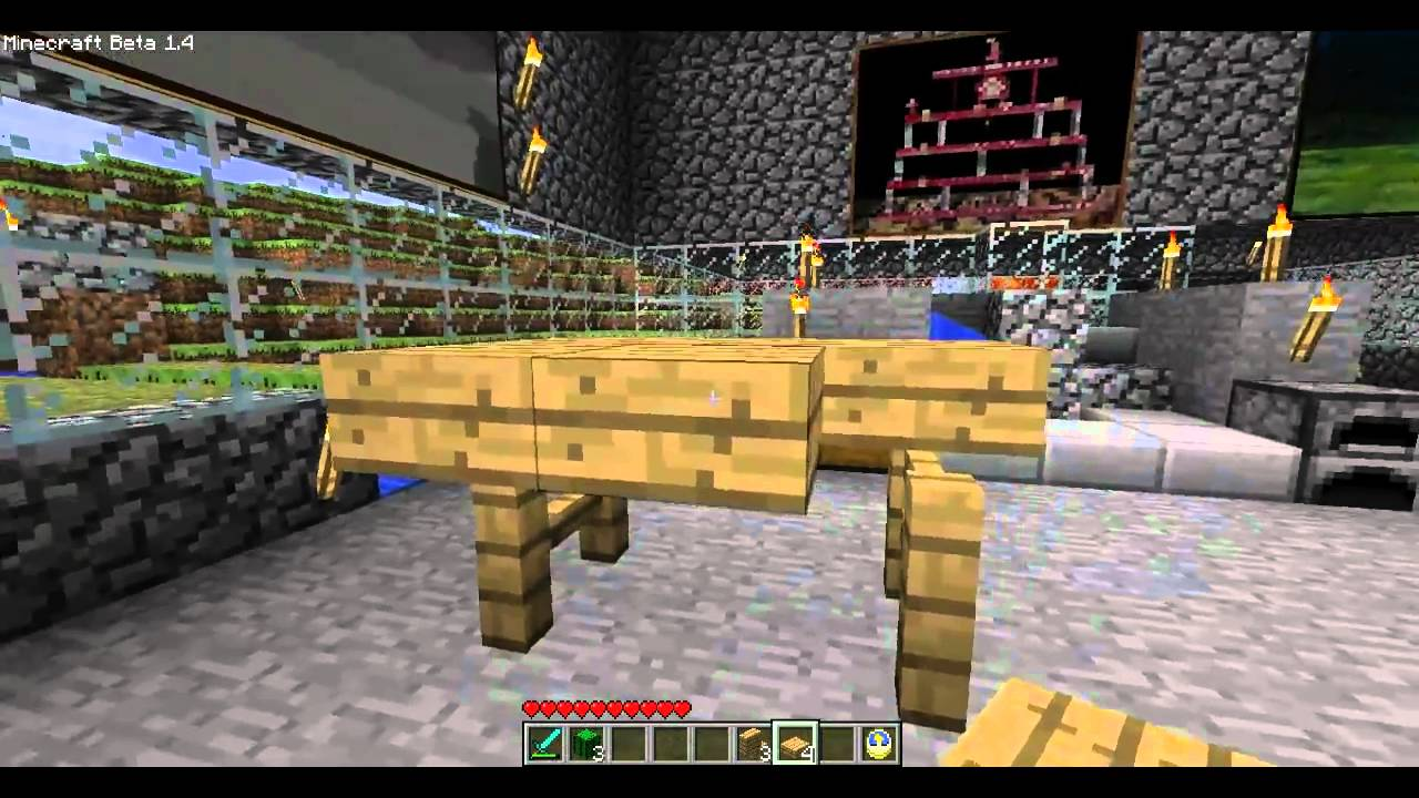 minecraft how to make a bed, chair, couch and table. - youtube