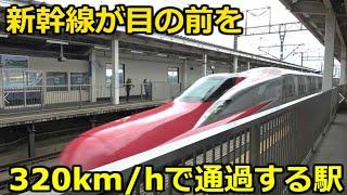 時速320キロで通過する新幹線を目の前で見れる駅 Shinkansen