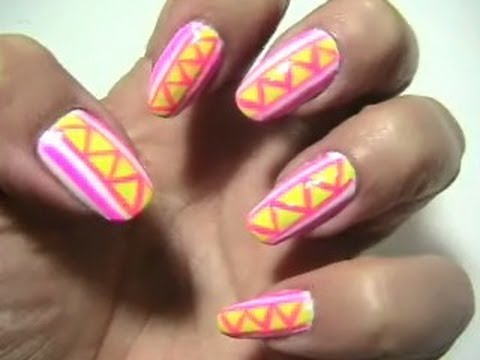 Electric Nailswhite Yellow And Pink Nail Art Youtube