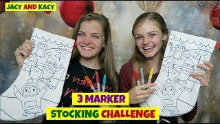 3 Marker Stocking Challenge ~ Fun DIY Christmas Stockings ~ Jacy and Kacy