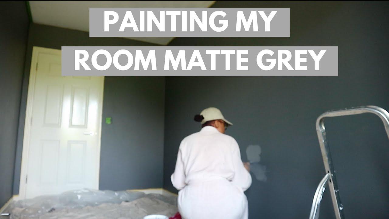 PAINTING MY ROOM MATTE GREY W/ VALSPER PAINT | BEDROOM MAKEOVER PT 3| BOLA  MARTINS