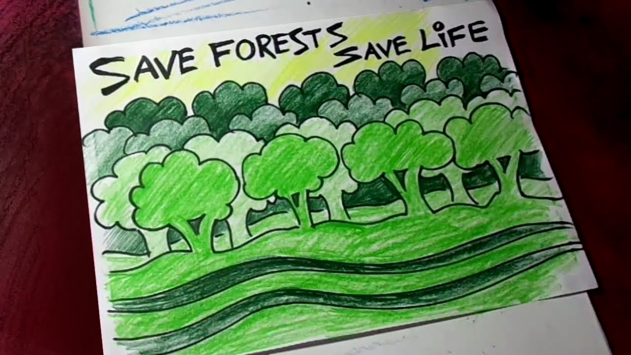 how to draw save forest save life poster drawing for kids youtube