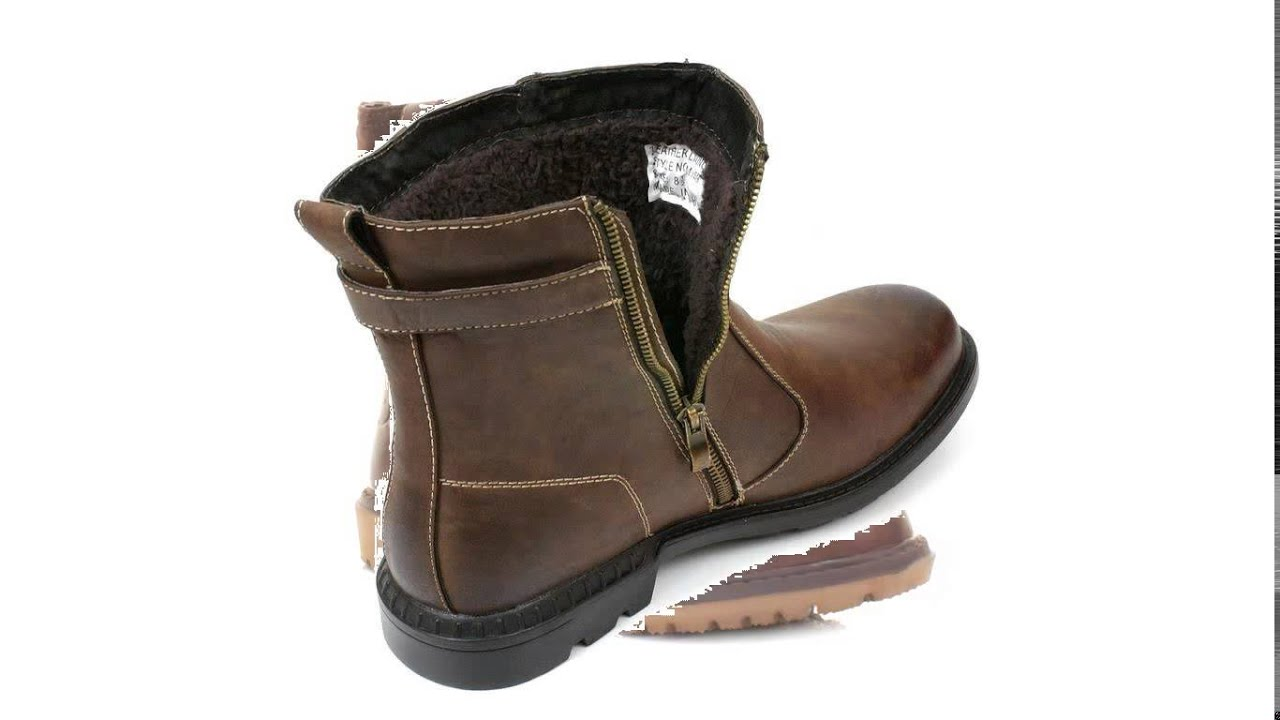 mens fur lined boots - YouTube