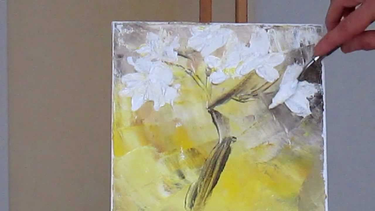 Tanja bell how to paint white blossom tutorial palette for How to paint with a palette knife with acrylics