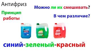 Антифриз красный - зеленый - синий. В чем разница?