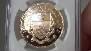 1972年イギリス連邦 バハマ  ヤングエリザベス 100ドル プルーフ金貨PF67 UCAM NGC