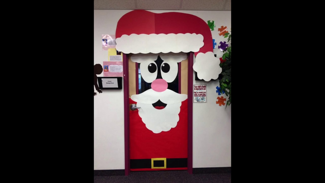 Puertas decoradas de navidad youtube for Puertas decoradas navidad material reciclable