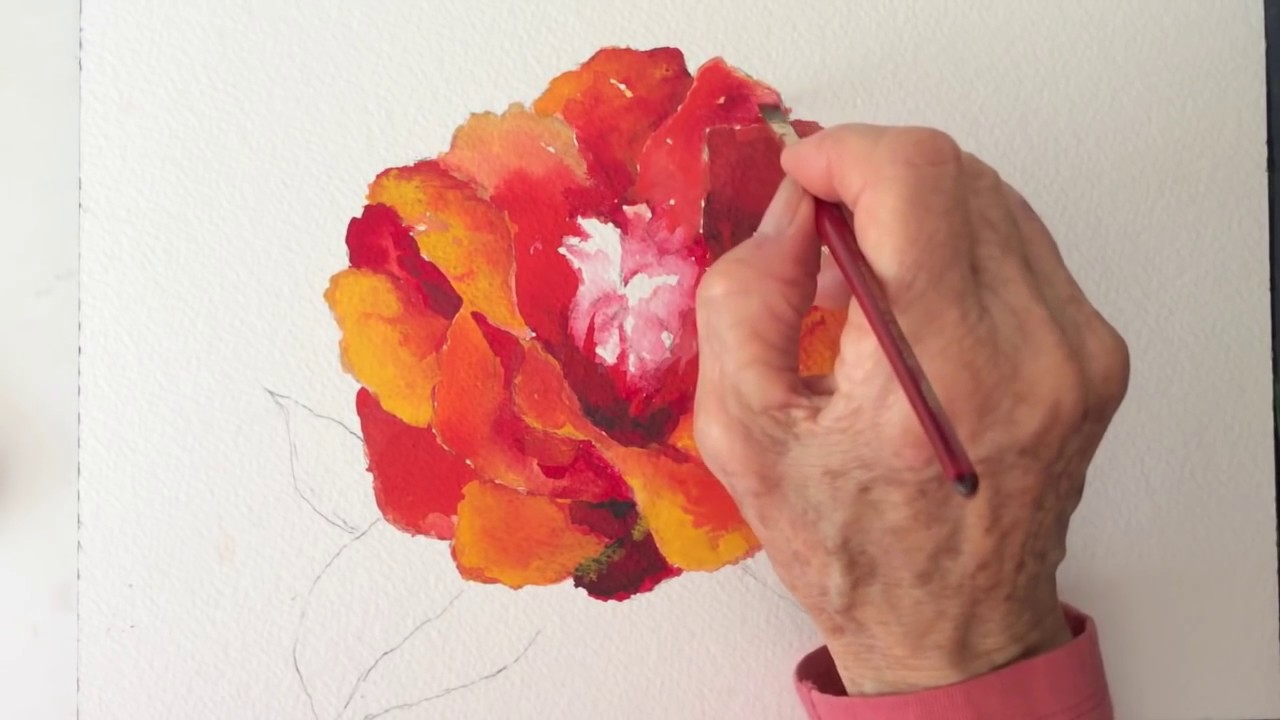 Red Camellia flower watercolor tutorial how to paint step by step