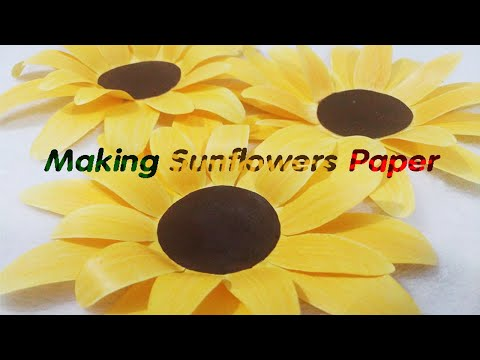 Easy paper sunflowers craft/ origami/diy/art/easy paper flowers