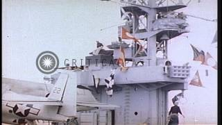 Crew members of captured German U boat -505 aboard USS Guadalcanal in the Atlanti...HD Stock Footage