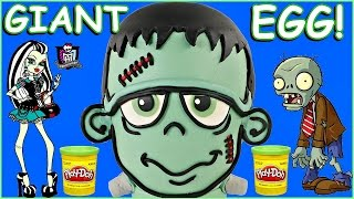 giant play doh surprise egg frankenstein halloween toy opening