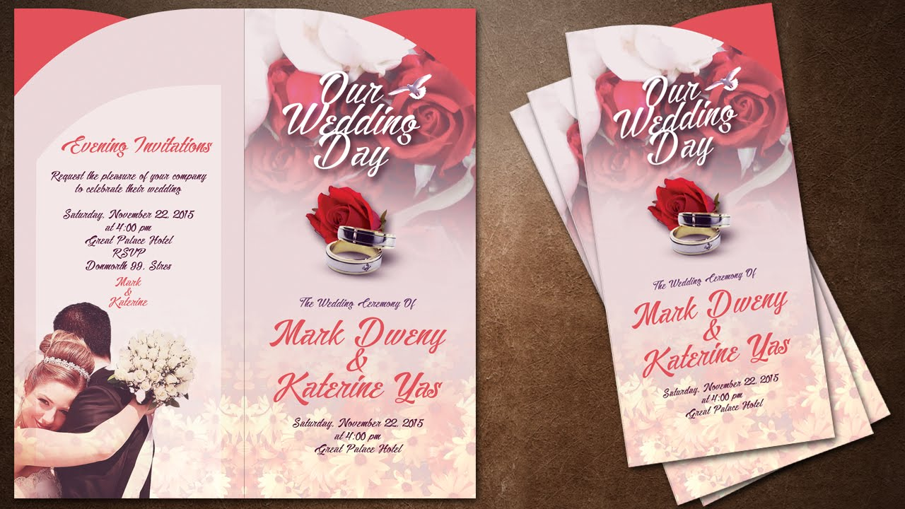 How To Make Creative Wedding Invitations Cover In Photoshop Youtube
