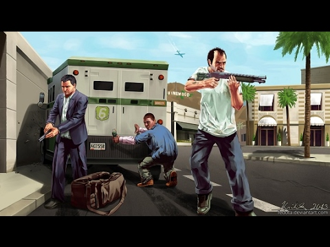 GTA 5 Trevor  Michael ,Franklin Hang out 5 stars police chase
