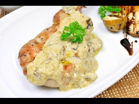 สเต็กหมู - พอร์คช้อปซอสเห็ด Pork Chop Mushroom Sauce