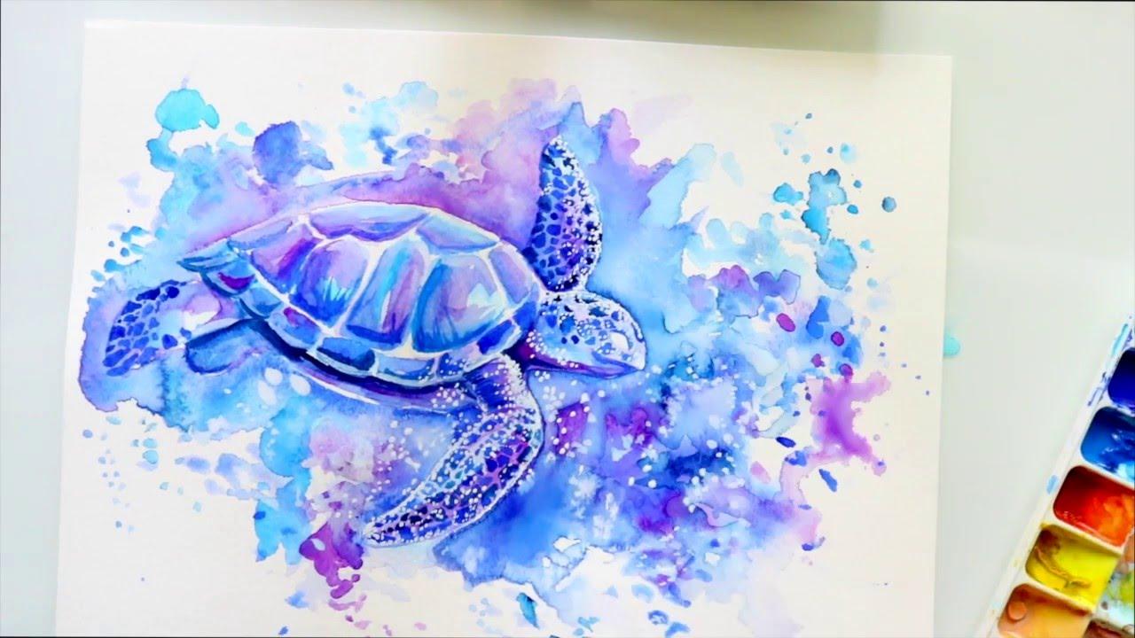 Galaxy ANIMAL Watercolor Technique - @dramaticparrot - YouTube