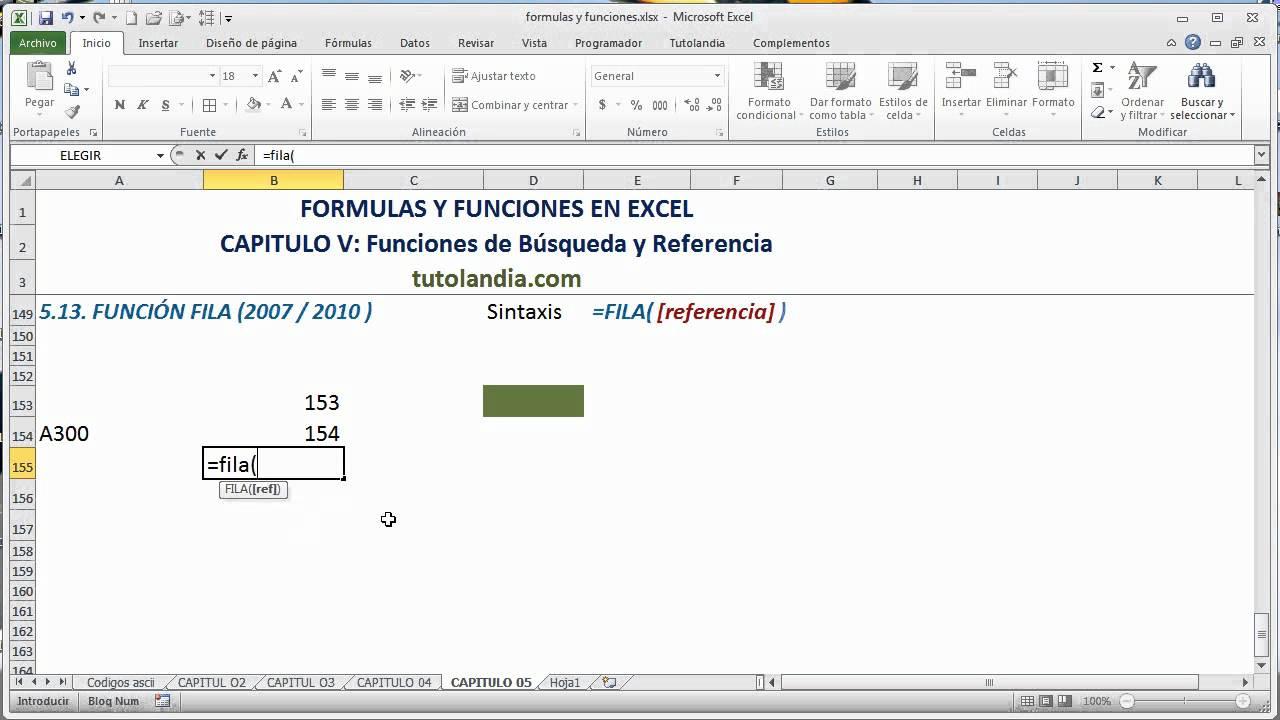 20.20 Función Fila Fórmulas y Funciones en Excel