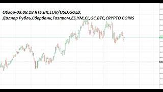 Обзор-03.08.18 RTS,BR,EUR/USD,GOLD, Доллар Рубль,Сбербанк,Газпром,ES,YM,CL,GC,BTC,CRYPTO COINS