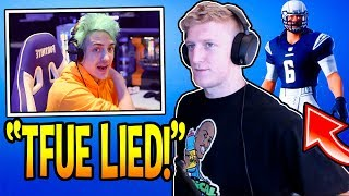 Ninja Reacts to TFUE *LYING* About EPIC Giving Him NFL *SKINS* Without Permission! Fortnite Moments