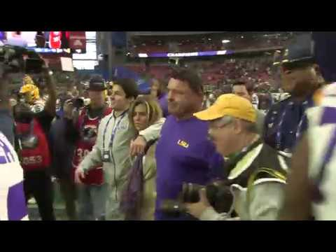 Follow Ed Orgeron on field after LSU wins Fiesta Bowl over UCF