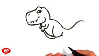 How to Draw a T-rex (cute) - Jurassic World - Easy Pictures to Draw