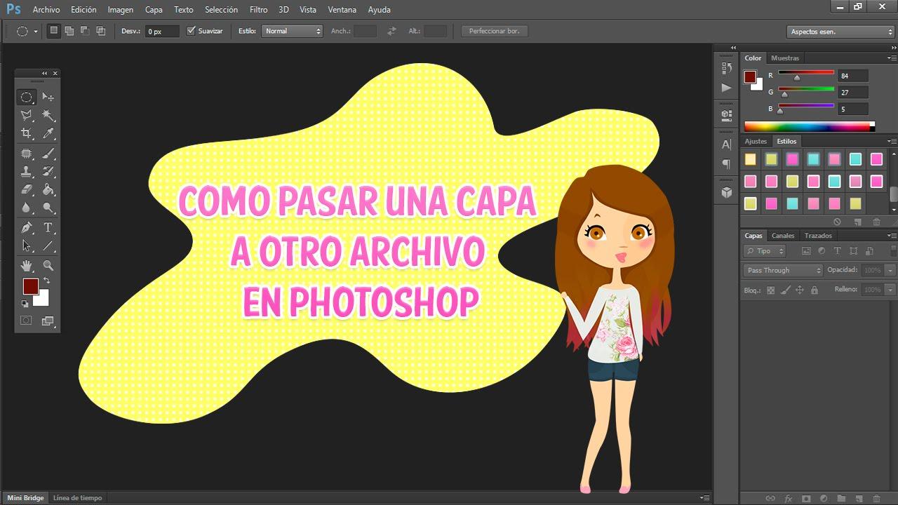 Cómo pasar una capa a otro archivo en photoshop - YouTube