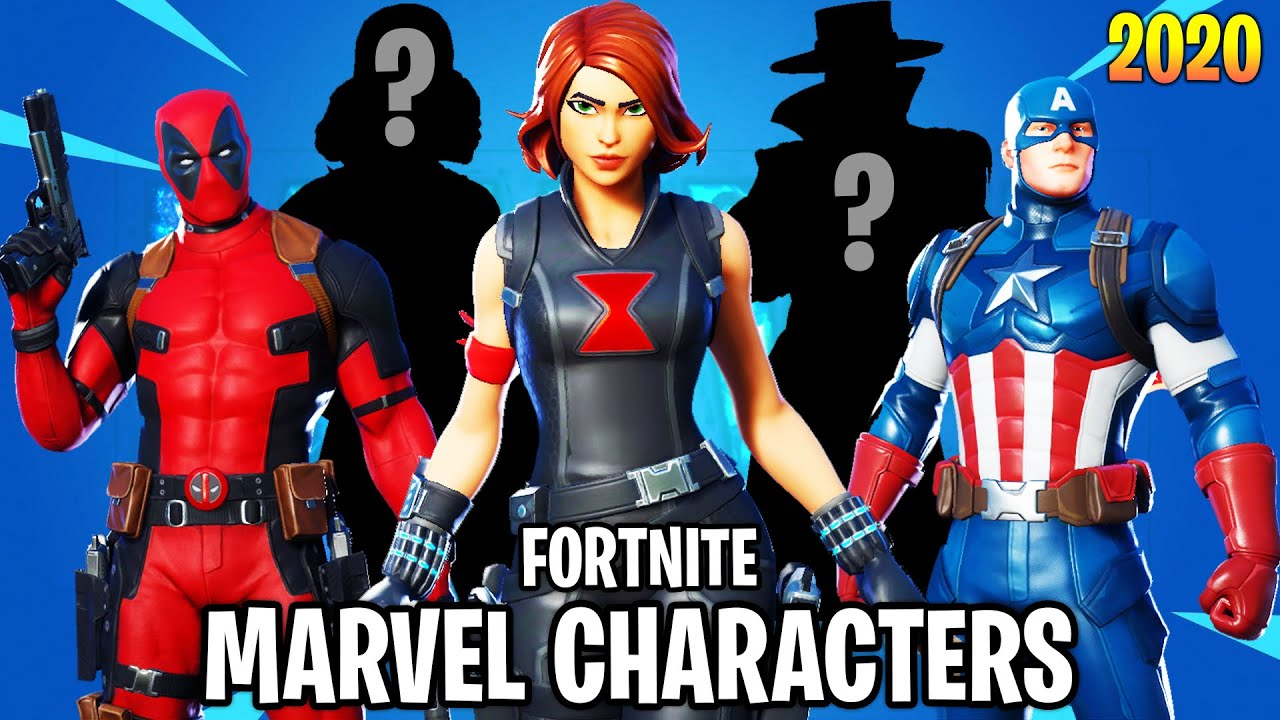 Marvel Characters In Fortnite All Characters Showcase Deadpool Captain America Youtube