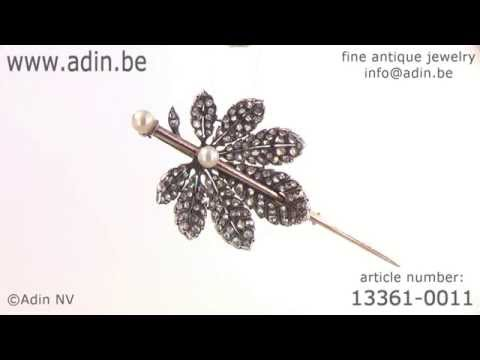 French Antique Victorian brooch chestnut leaf diamond covered. (Adin reference: 13361-0011)