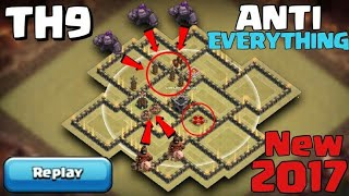 New Th9 Anti war base + proof ( lava loon , go hog , witch slap and Velkery ) with Clash of Clans