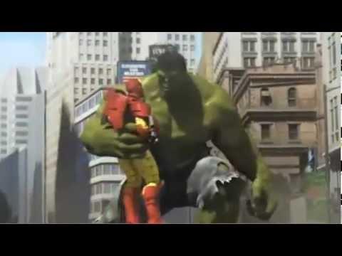Iron Man, Spiderman et Hulk VS Robot Géant - YouTube