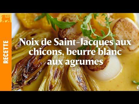 Noix de Saint -Jacques snackées aux chicons, beurre blanc aux agrumes