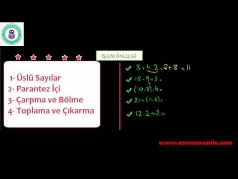 6. Sınıf Doğal Sayılarla İşlemler (Üslü Nicelikler, İşlem Önceliği, Problem Çözme, Problem Kurma)