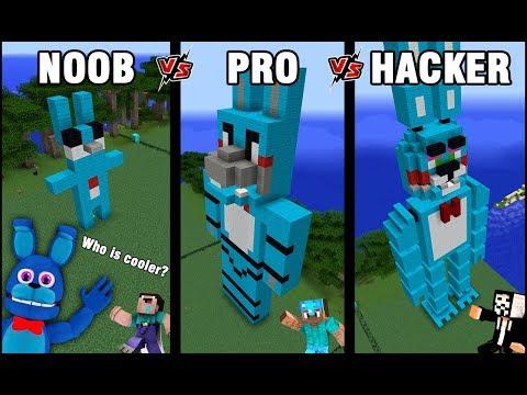 Minecraft Battle: NOOB vs PRO vs HACKER: BUILD FNAF BONNIE CHALLENGE in Minecraft