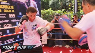 Gennady Golovkin vs. Marco Antonio Rubio: GGG full workout mitts + shadow boxing