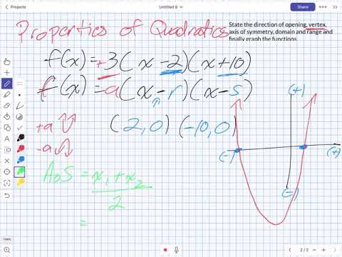 Properties of Quadratics (Grade 11 University)