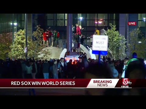 Boston fans celebrate as officers keep close watch