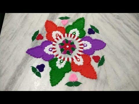 Simple & easy rangoli design // innovative design // beautiful rangoli using bangles thumbnail