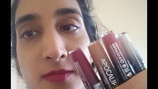 Lip Swatches & Review - Rimmel Apocalips Lip Lacquers/Lip Velvet