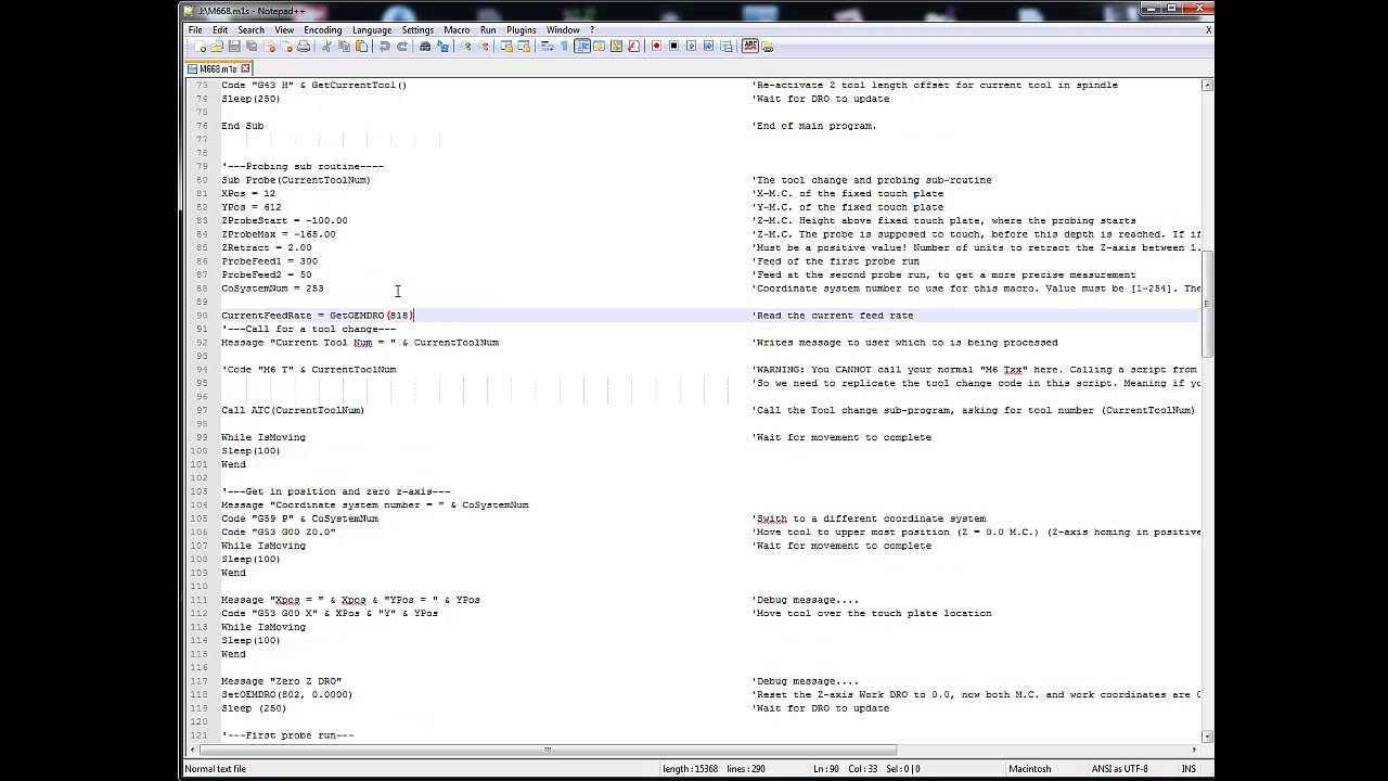 MACH3 Script for Probing tools with ATC