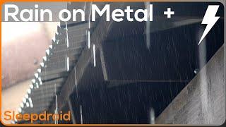 ► Fall asleep fast! 4K Rain Video. 5 HOURS: Rain on Tin Roof/Thunder. Rain for sleeping. Real Rain.