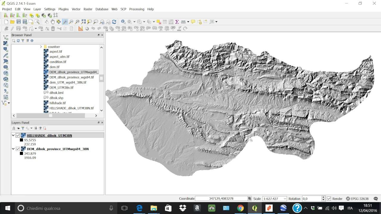hillshade, slope, aspect from DEM (thanks to Qgis!!!)