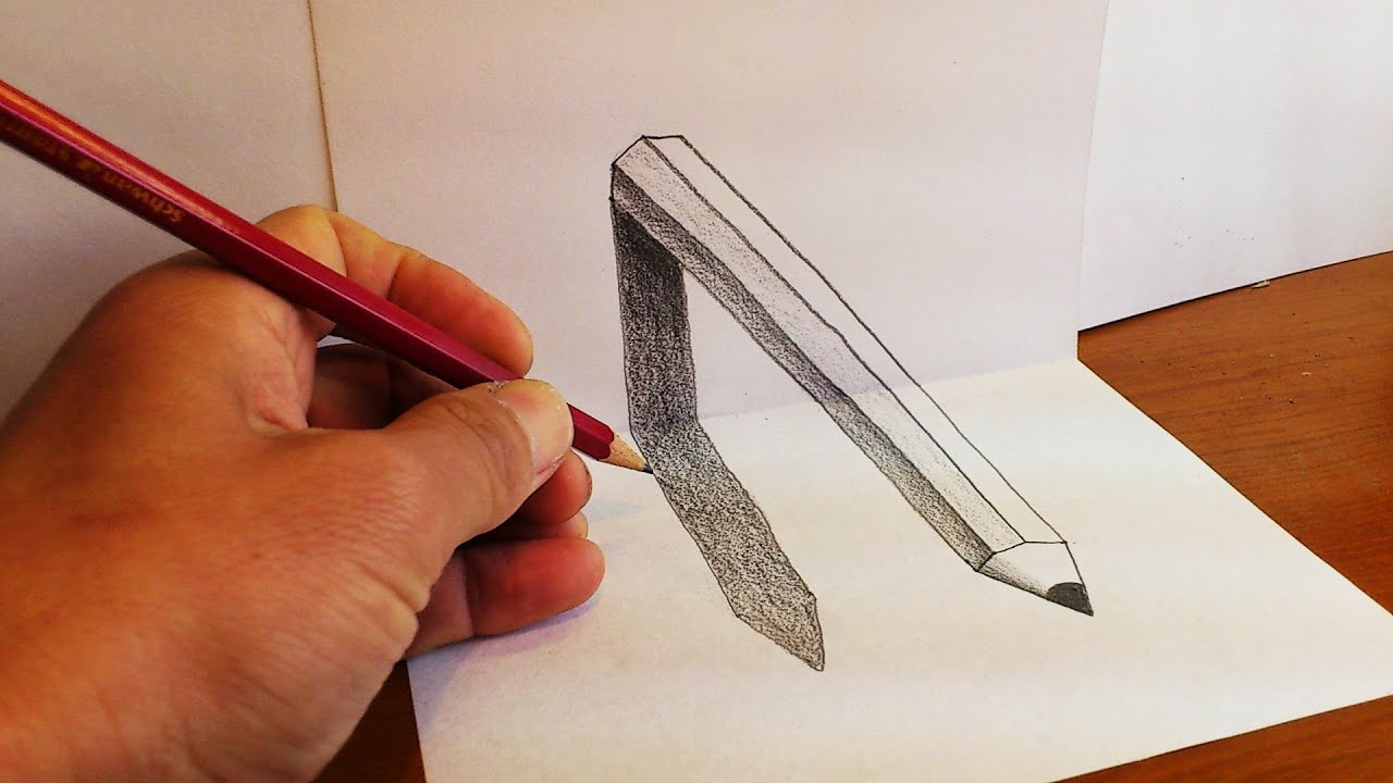 pencil paper 3d drawing draw drawings illusion optical easy getdrawings afkomstig kaynak tr van google