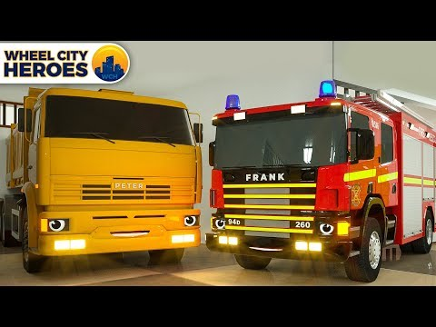 Fire Truck Frank Calls Crane To Move Dump Truck Beside - Wheel City Heroes (WCH) Spec Cars Cartoon