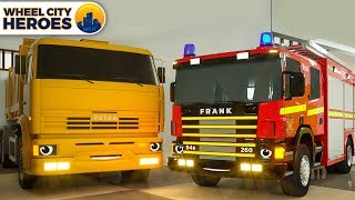Fire Truck Frank Calls Crane to move Dump Truck Beside - Wheel City Heroes (WCH) Spec Cars Cartoon