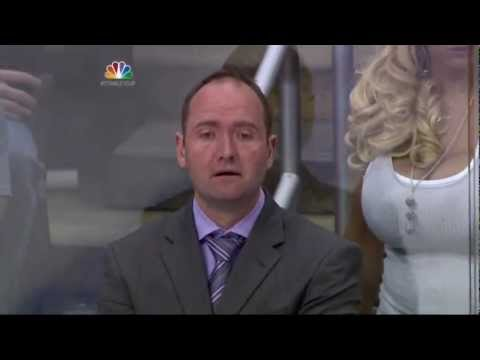 Peter Deboer gets an eyeful of Taylor Stevens. NJ Devils vs LA Kings Stanley Cup Game 4 6/6/12 NHL